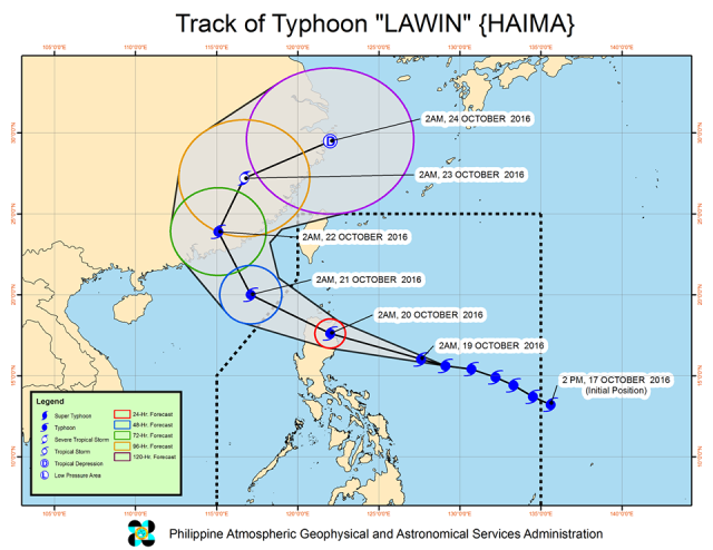 Forecast track of Typhoon Lawin as of October 19, 5 am. Image courtesy of PAGASA